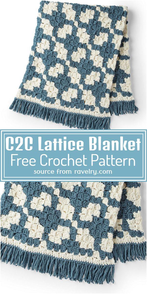 Crochet C2C Lattice Blanket Free Pattern