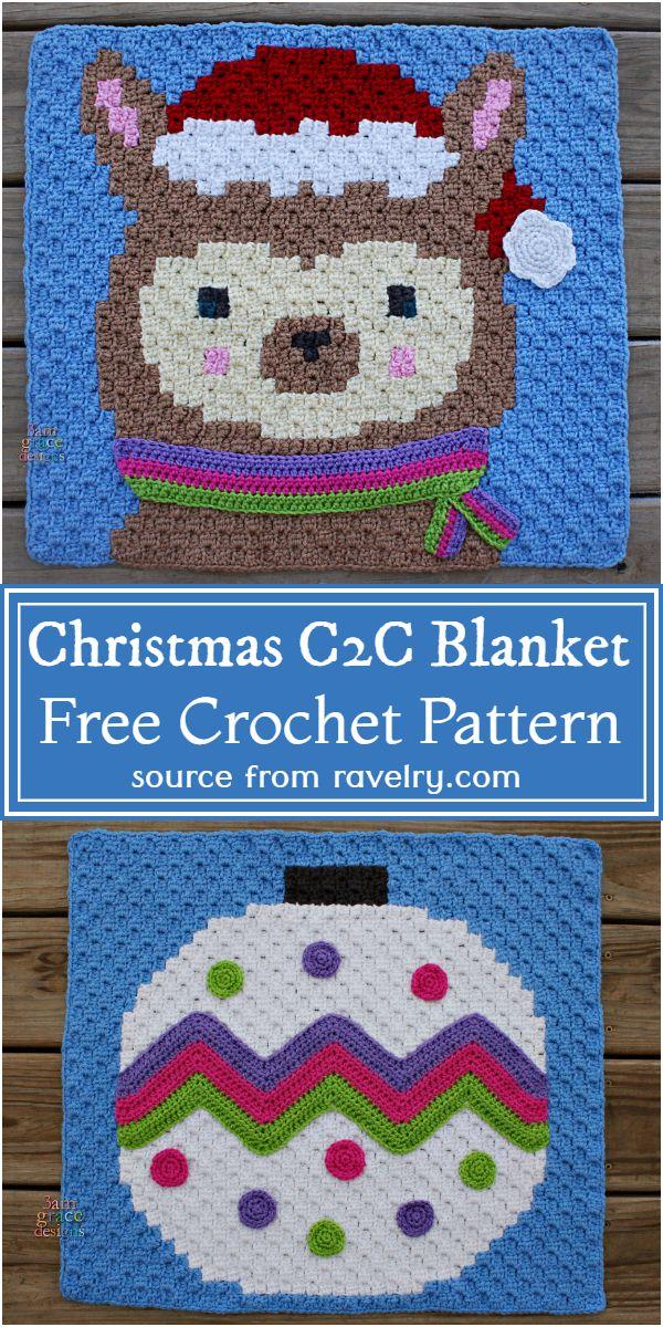 Crochet Christmas C2C Blanket Free Pattern