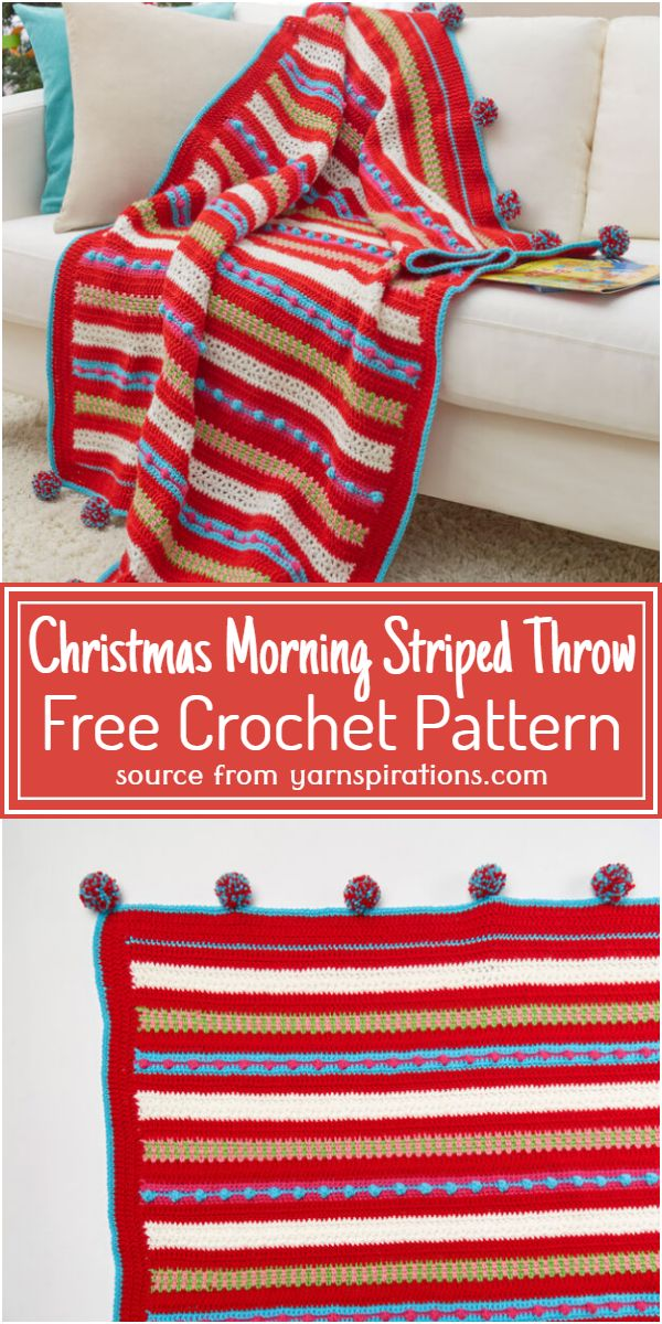 Crochet Christmas Morning Striped Throw Free Pattern