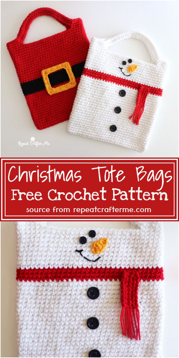 Crochet Christmas Tote Bags Free Pattern