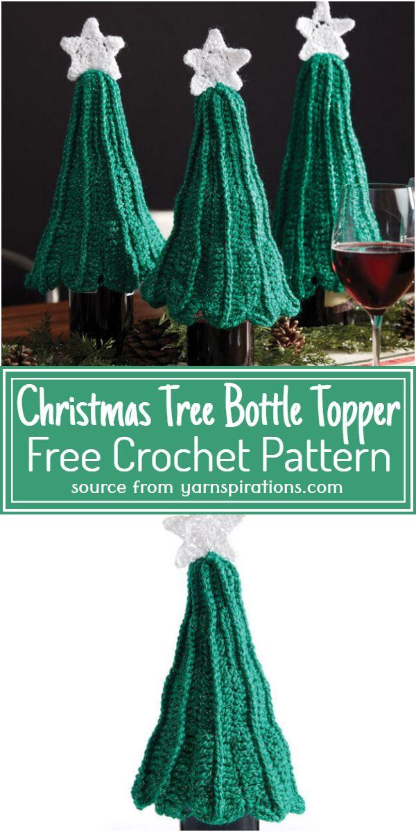 Crochet Christmas Tree Bottle Topper Free Pattern