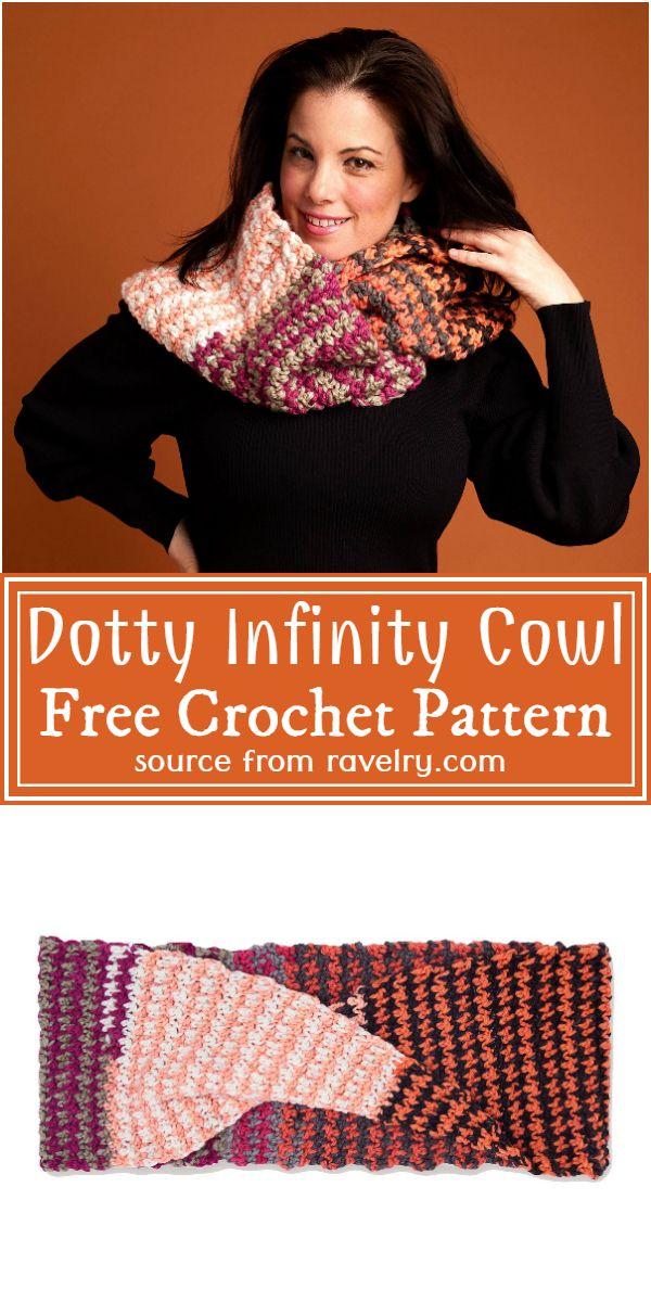 Crochet Dotty Infinity Cowl Free Pattern