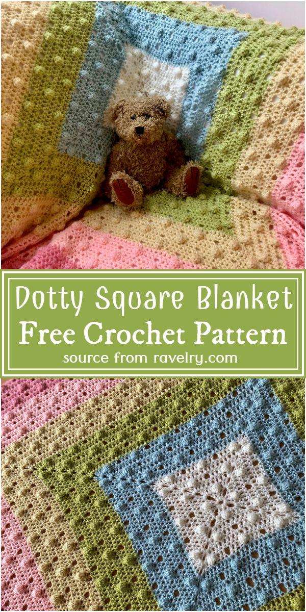 Crochet Dotty Square Blanket Free Pattern