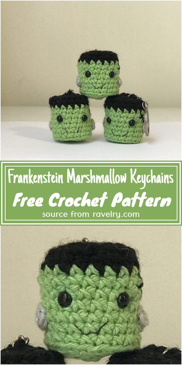 Crochet Frankenstein Marshmallow Keychains Free Pattern