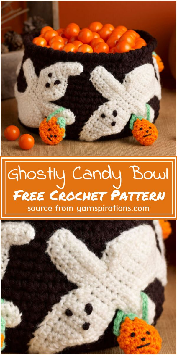 Crochet Ghostly Candy Bowl Free Pattern