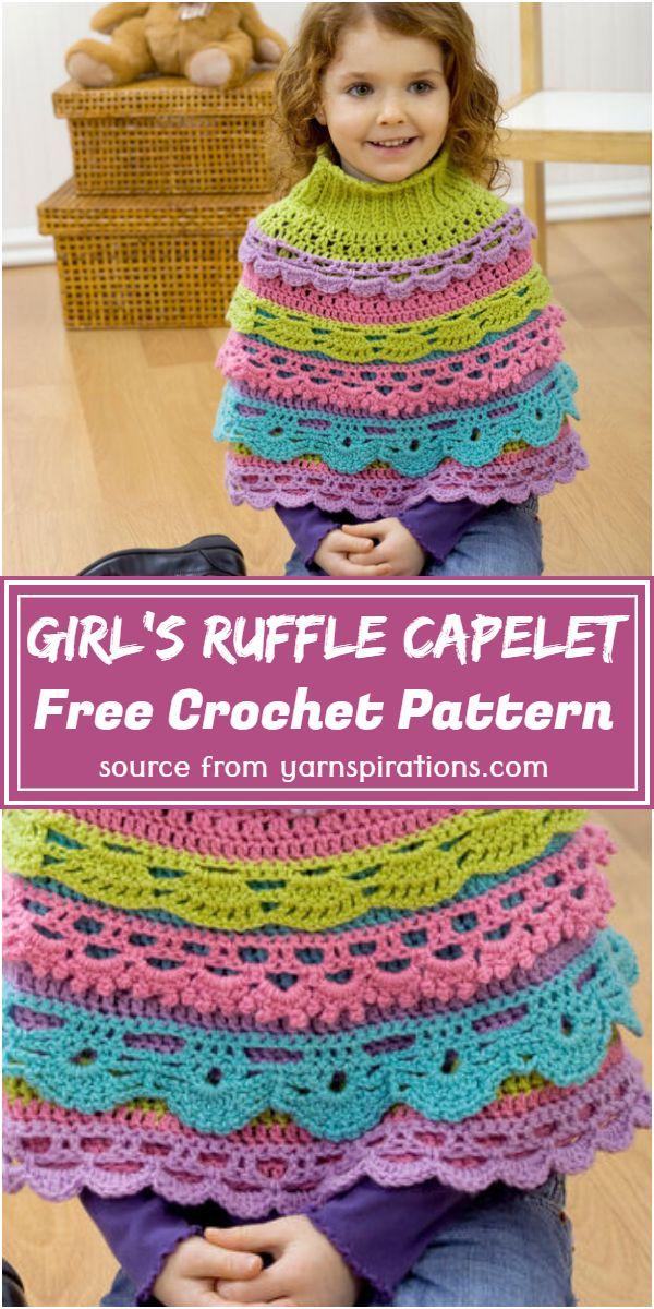 Crochet Girl's Ruffle Capelet Free Pattern