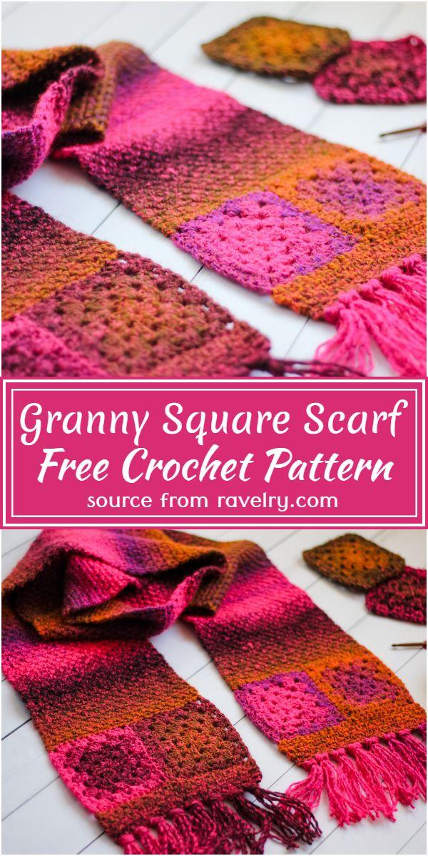 Crochet Granny Square Scarf Pattern