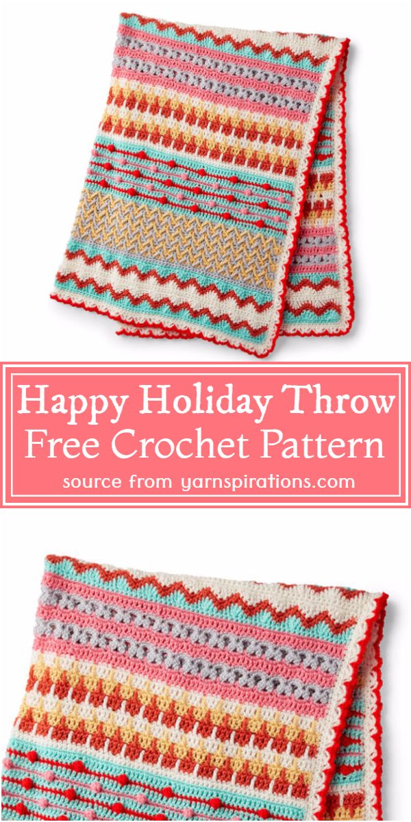 Crochet Happy Holiday Throw Free Pattern