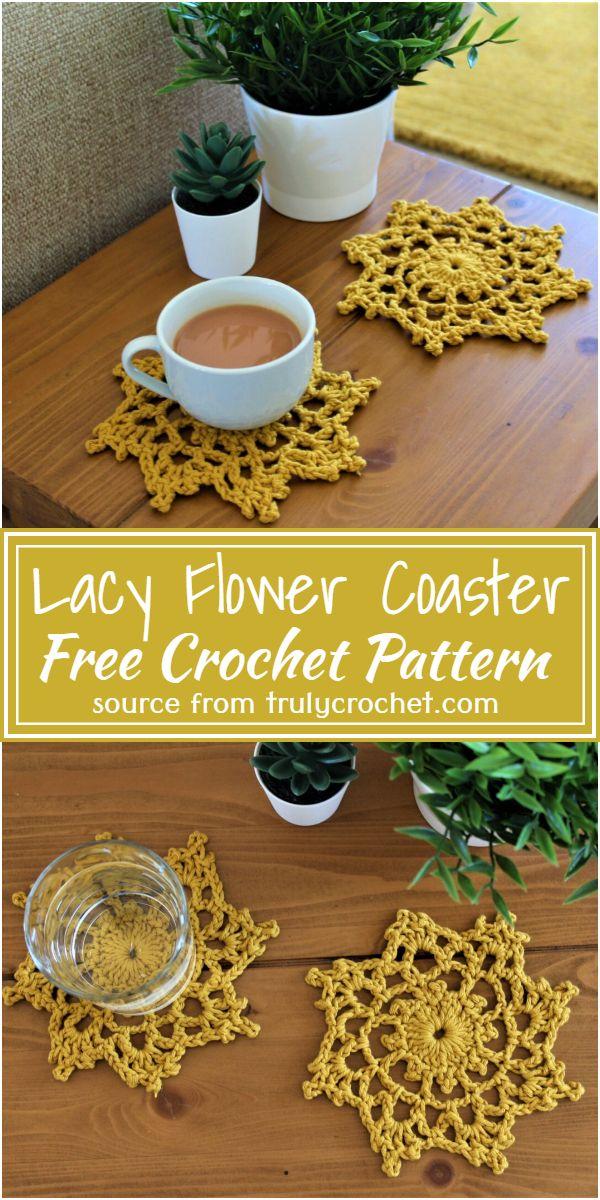 Crochet Lacy Flower Coaster Free Pattern