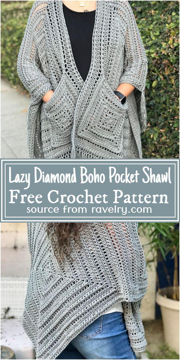 Crochet Lazy Diamond Boho Pocket Shawl Pattern
