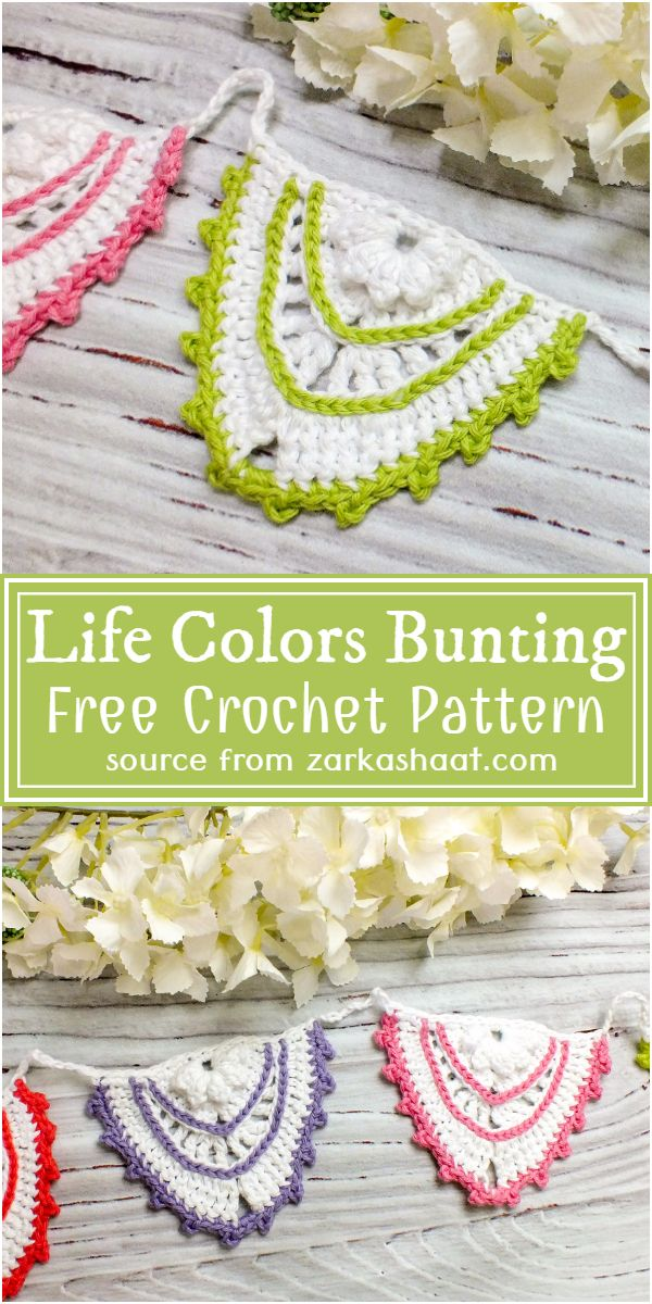 Crochet Life Colors Bunting Free Pattern