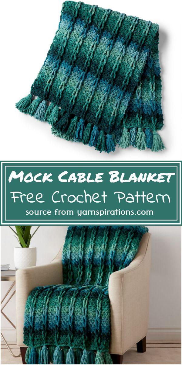 Crochet Mock Cable Blanket Free Pattern