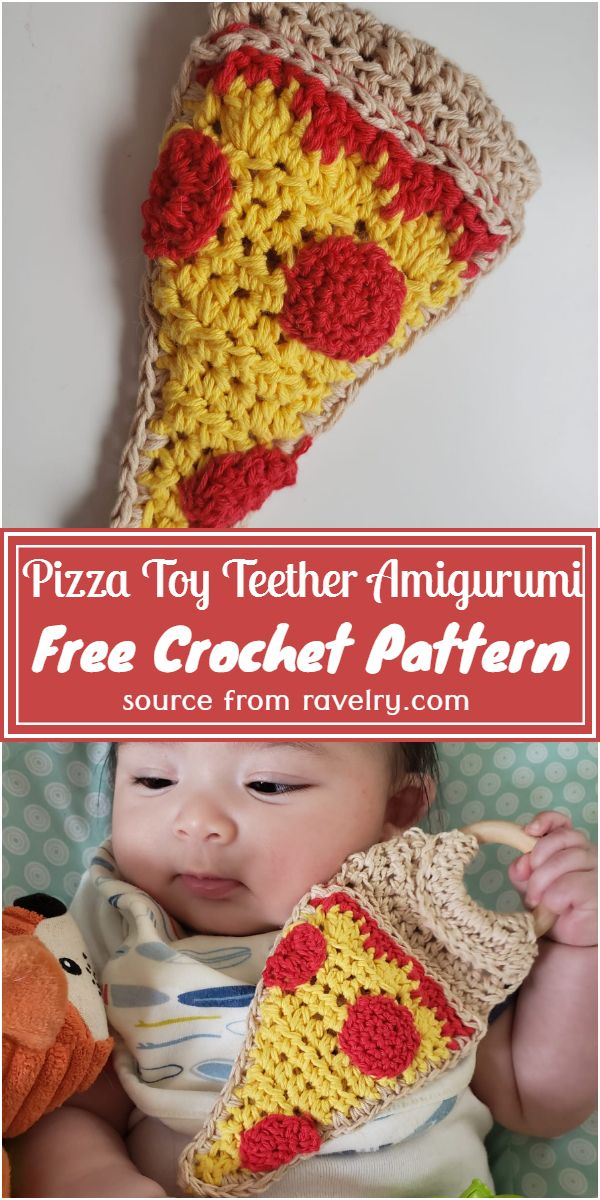Crochet Pizza Toy Teether Amigurumi Free Pattern
