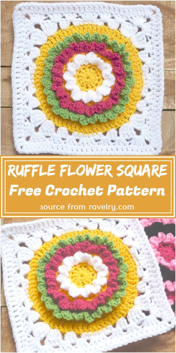 Crochet Ruffle Flower Square Pattern