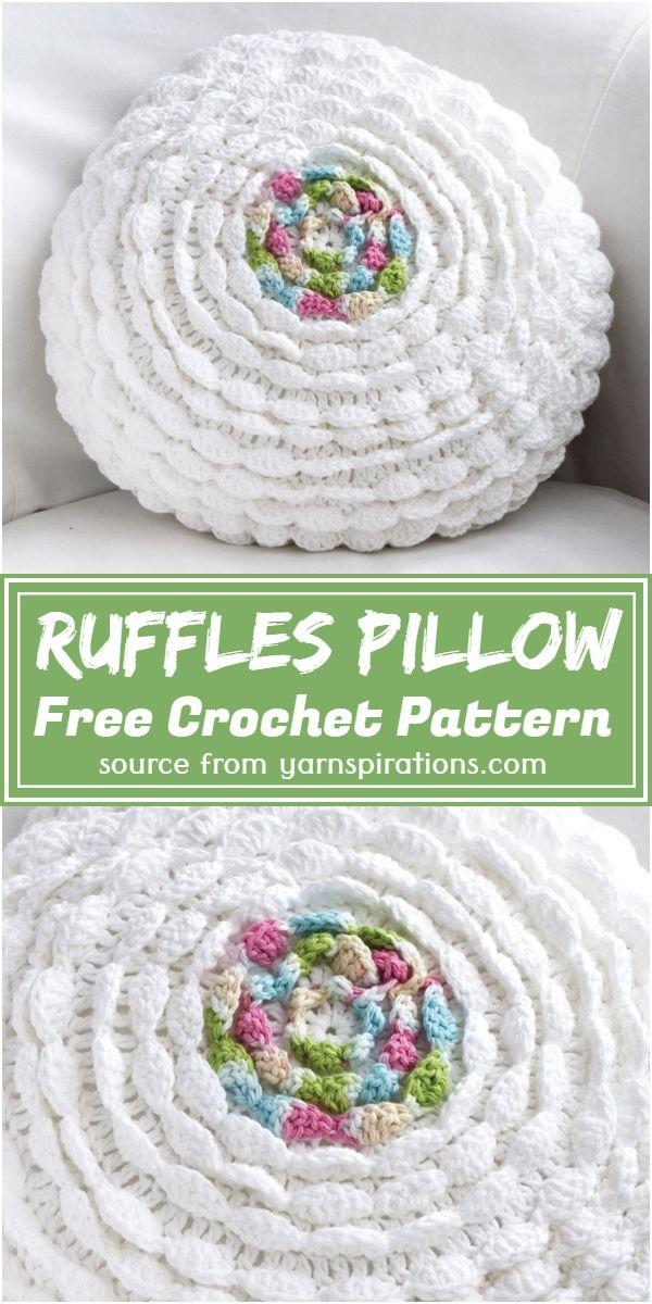 Crochet Ruffles Pillow Free Pattern