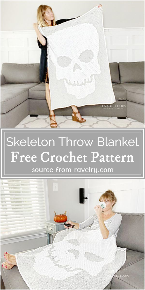 Crochet Skeleton Throw Blanket Pattern