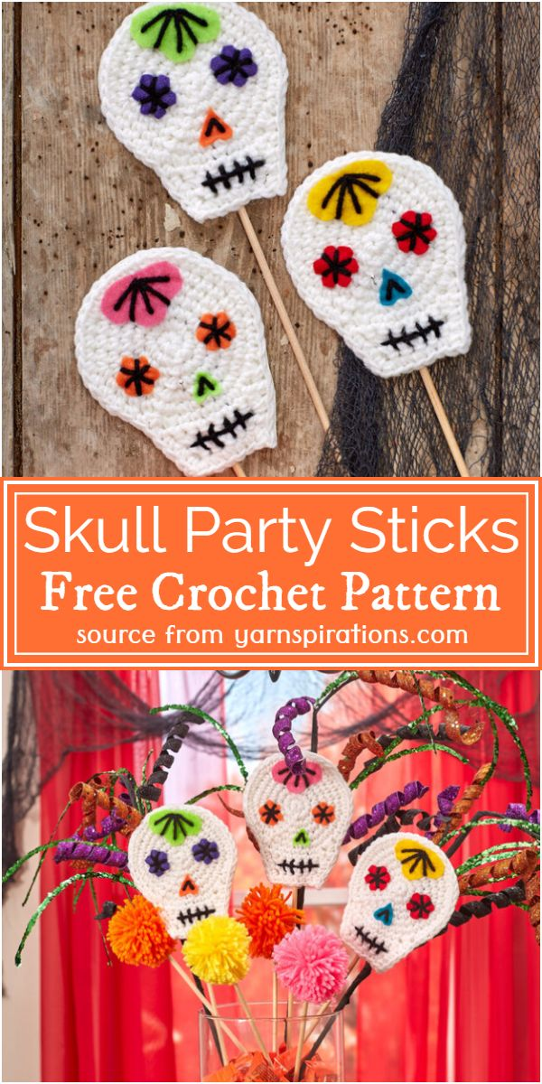 Crochet Skull Party Sticks Pattern