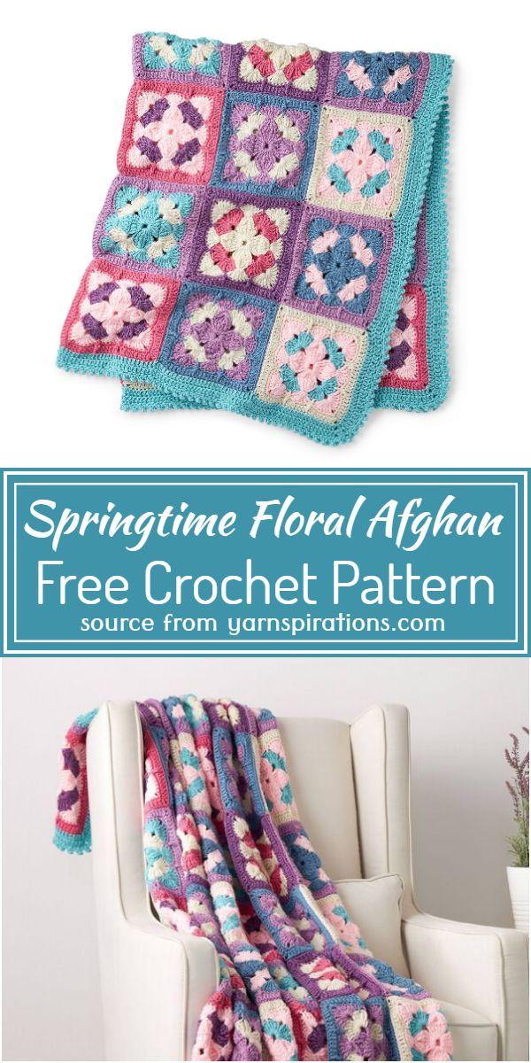 Crochet Springtime Floral Afghan Free Pattern