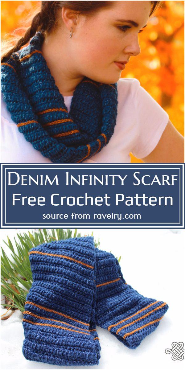 Denim Infinity Scarf Crochet Pattern