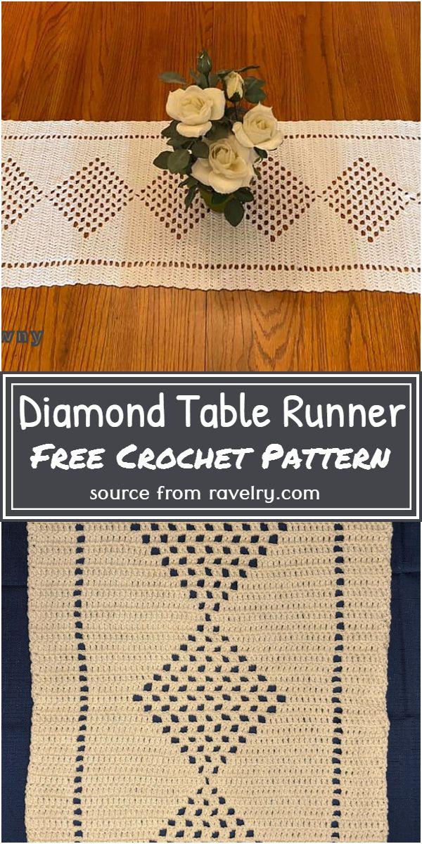 Diamond Crochet Table Runner Free Pattern