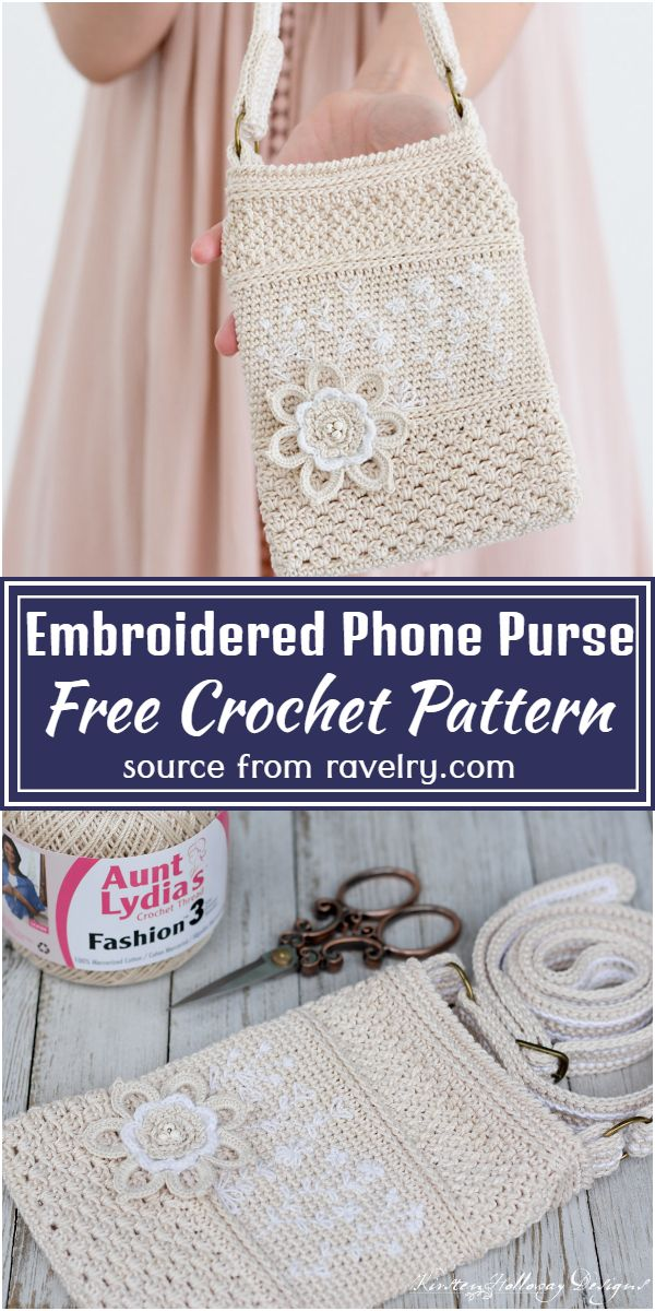 Embroidered Phone Purse Crochet Pattern