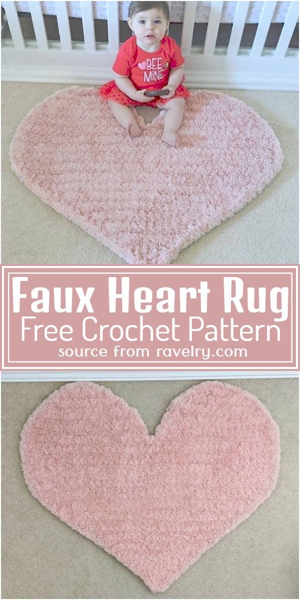 Faux Heart Rug Crochet Pattern