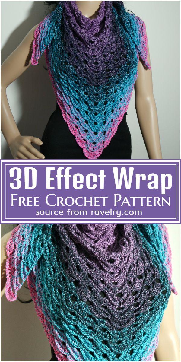 Free Crochet 3D Effect Wrap Pattern
