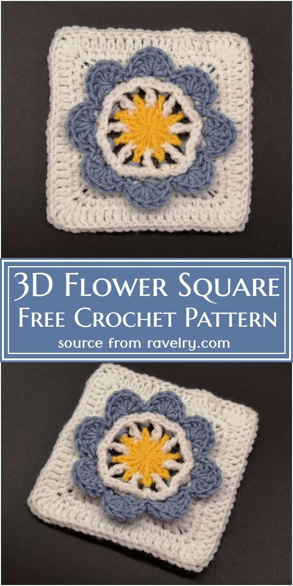 Free Crochet 3D Flower Square Pattern