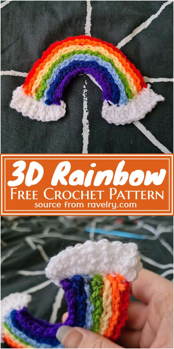 Free Crochet 3D Rainbow Pattern