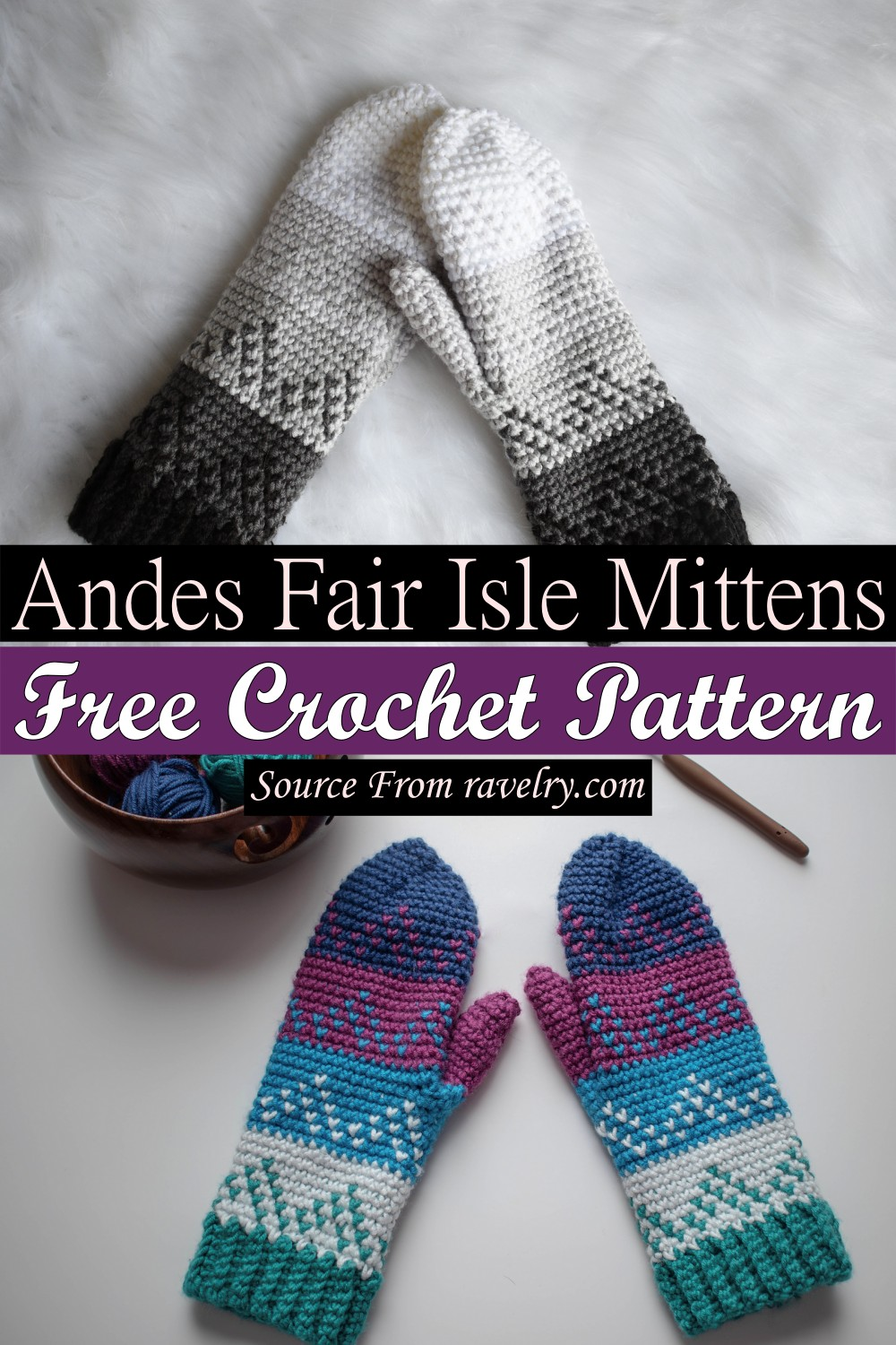 Free Crochet Andes Fair Isle Mittens Pattern
