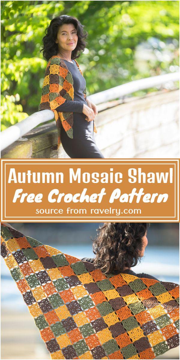 Free Crochet Autumn Mosaic Shawl Pattern