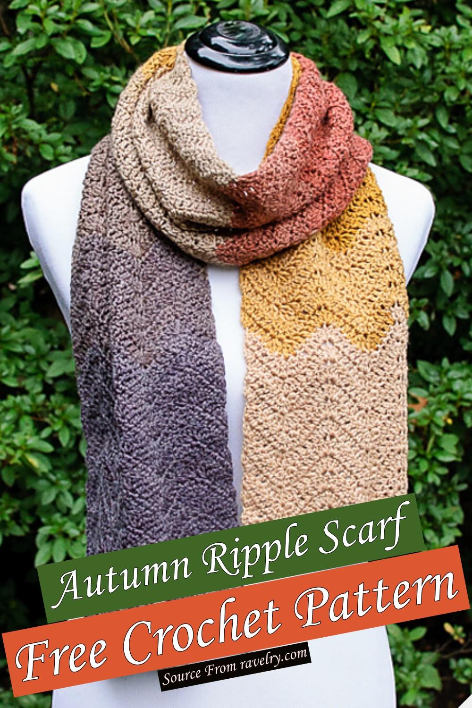 Free Crochet Autumn Ripple Scarf Pattern