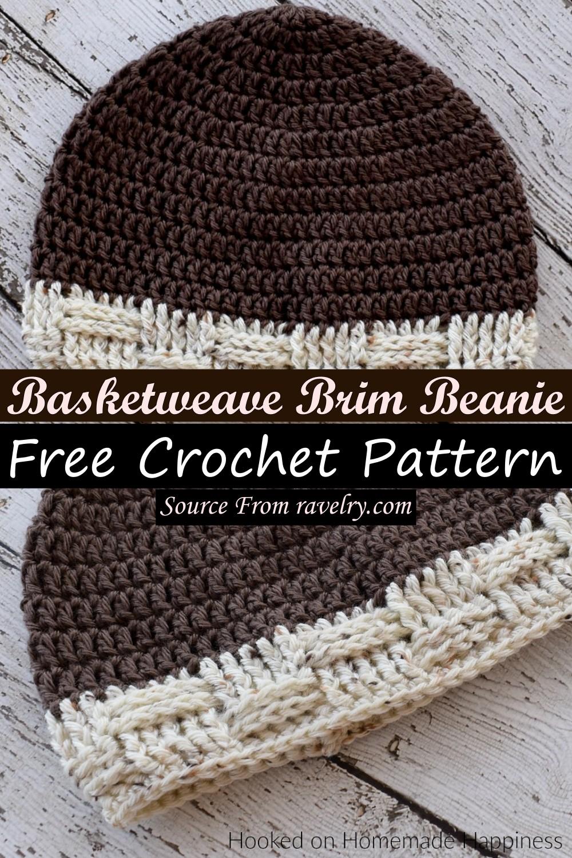 Free Crochet Basketweave Brim Beanie Pattern