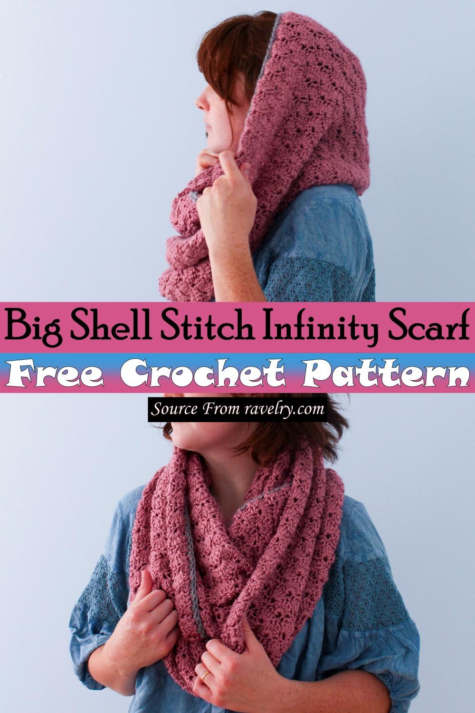 Free Crochet Big Shell Stitch Infinity Scarf Pattern