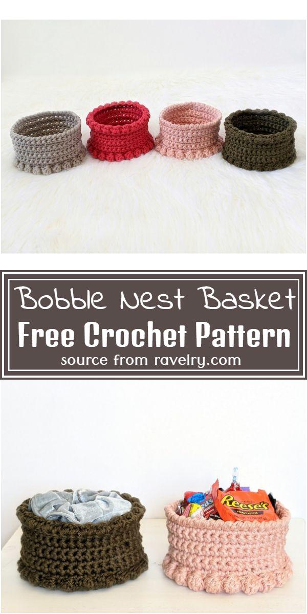 Free Crochet Bobble Nest Basket Pattern