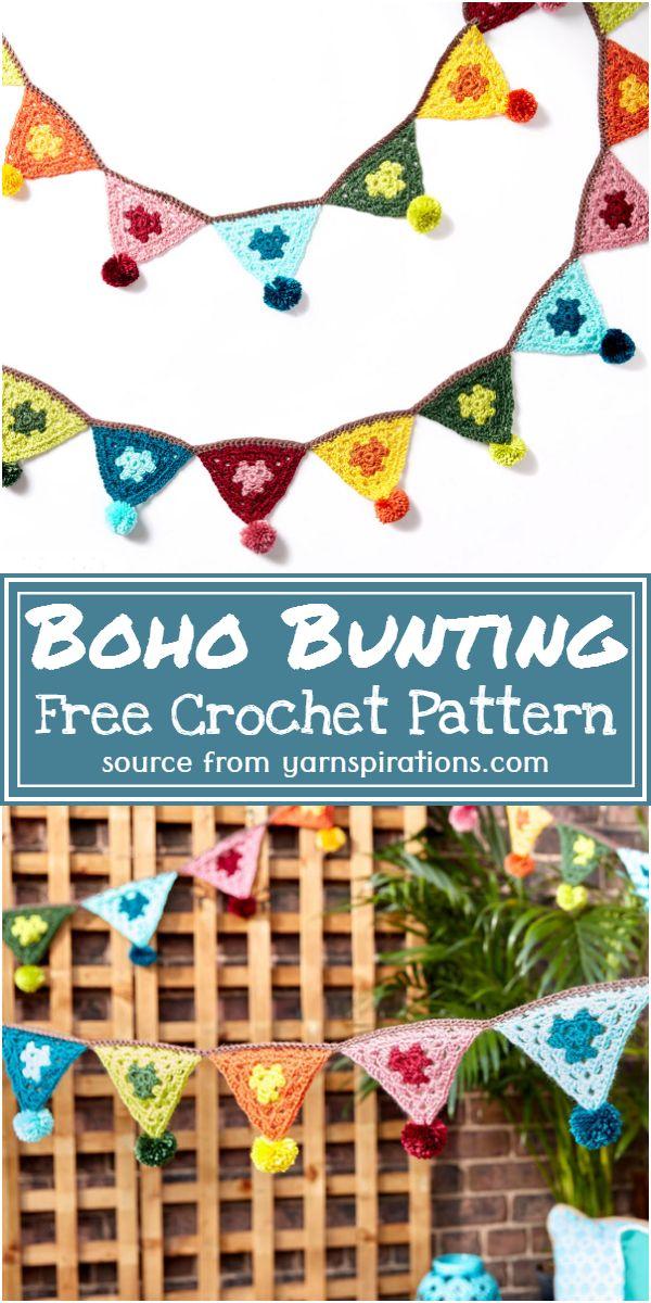 Free Crochet Boho Bunting Pattern