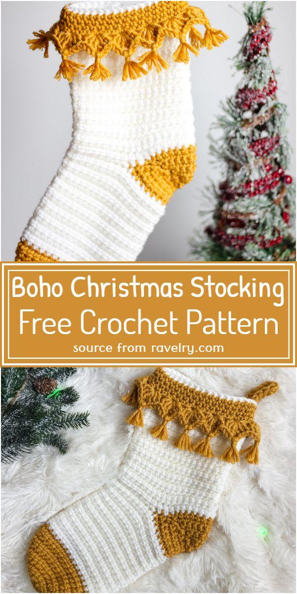 Free Crochet Boho Christmas Stocking Pattern