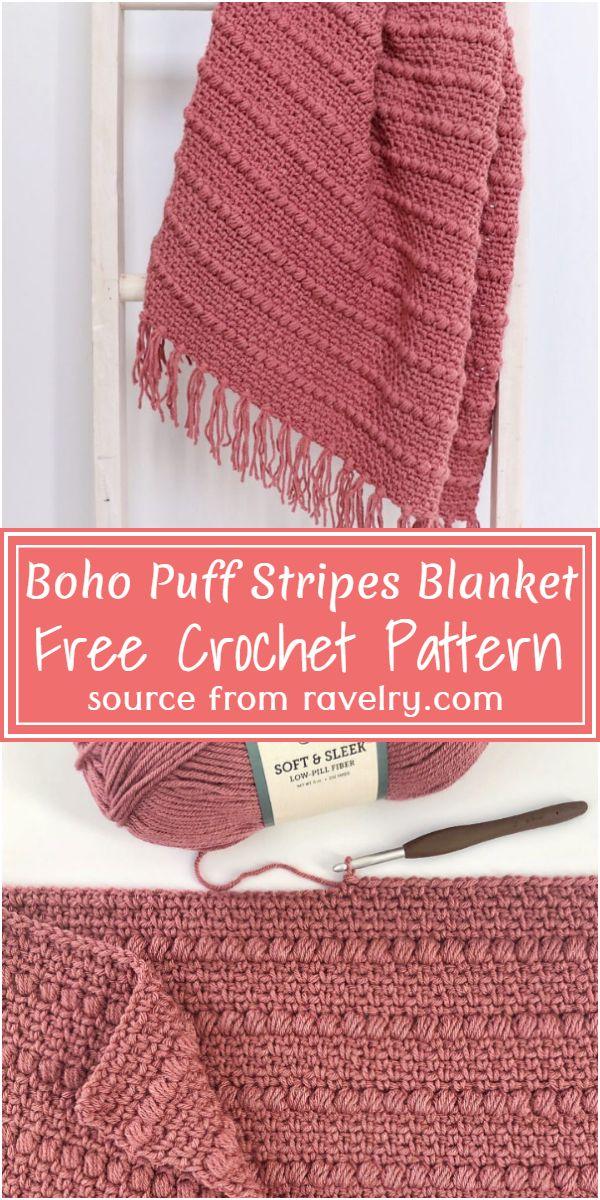Boho Puff crochet Stripe Blanket Pattern
