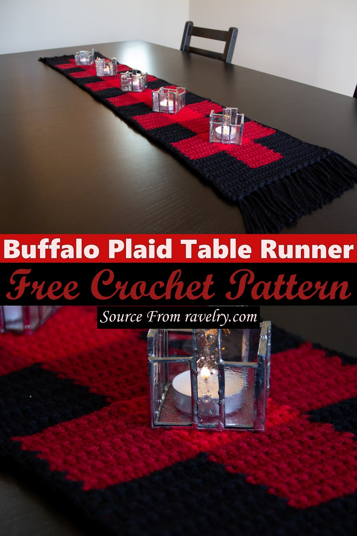 Free Crochet Buffalo Plaid Table Runner Pattern
