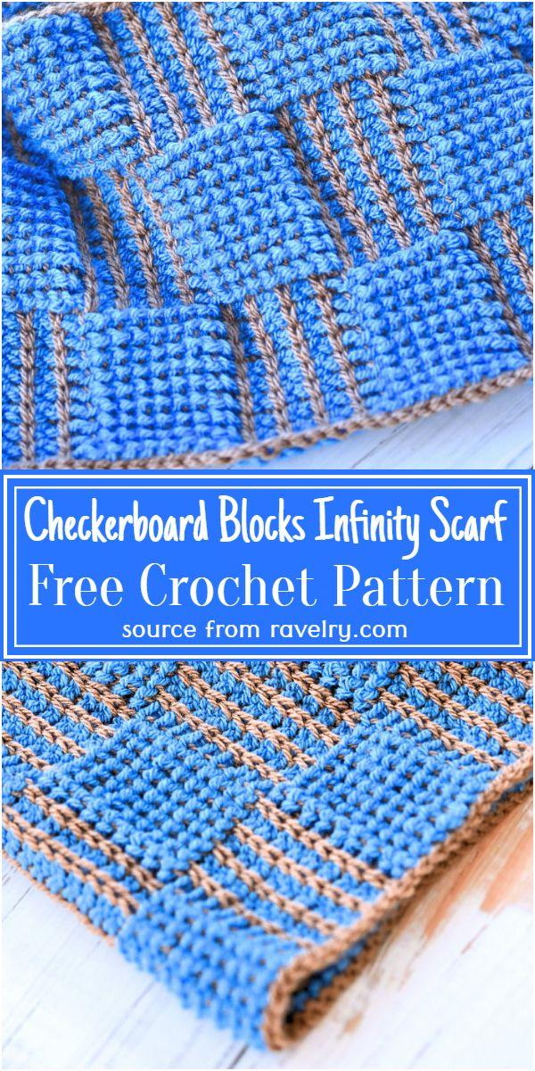 Free Crochet Checkerboard Blocks Infinity Scarf Pattern