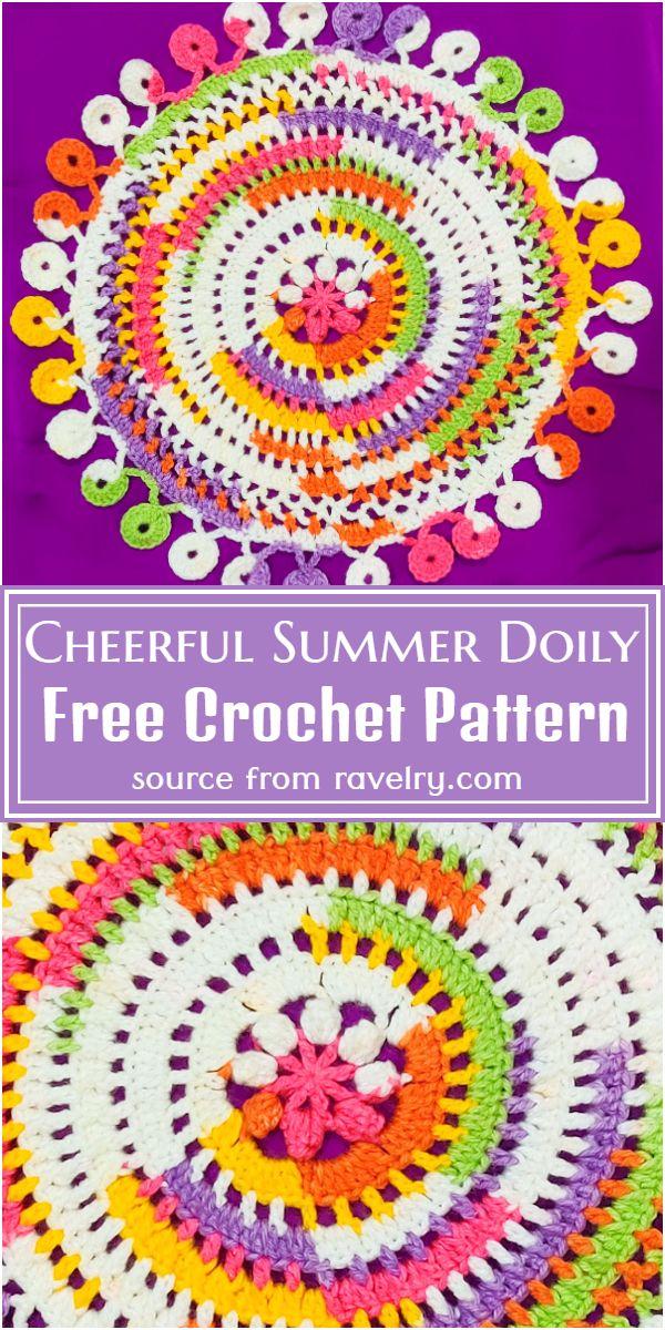 Free Crochet Cheerful Summer Doily Pattern