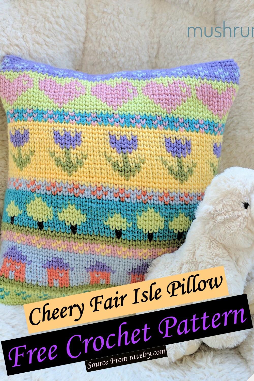Free Crochet Cheery Fair Isle Pillow Pattern