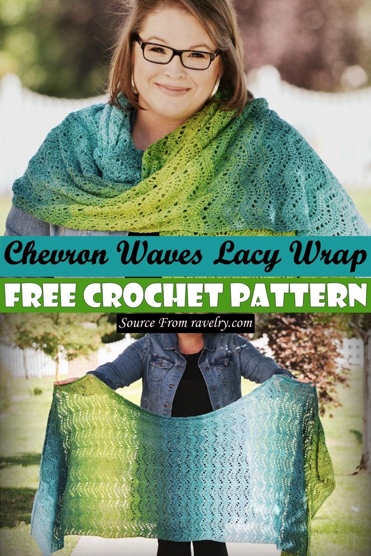 Free Crochet Chevron Waves Lacy Wrap Pattern