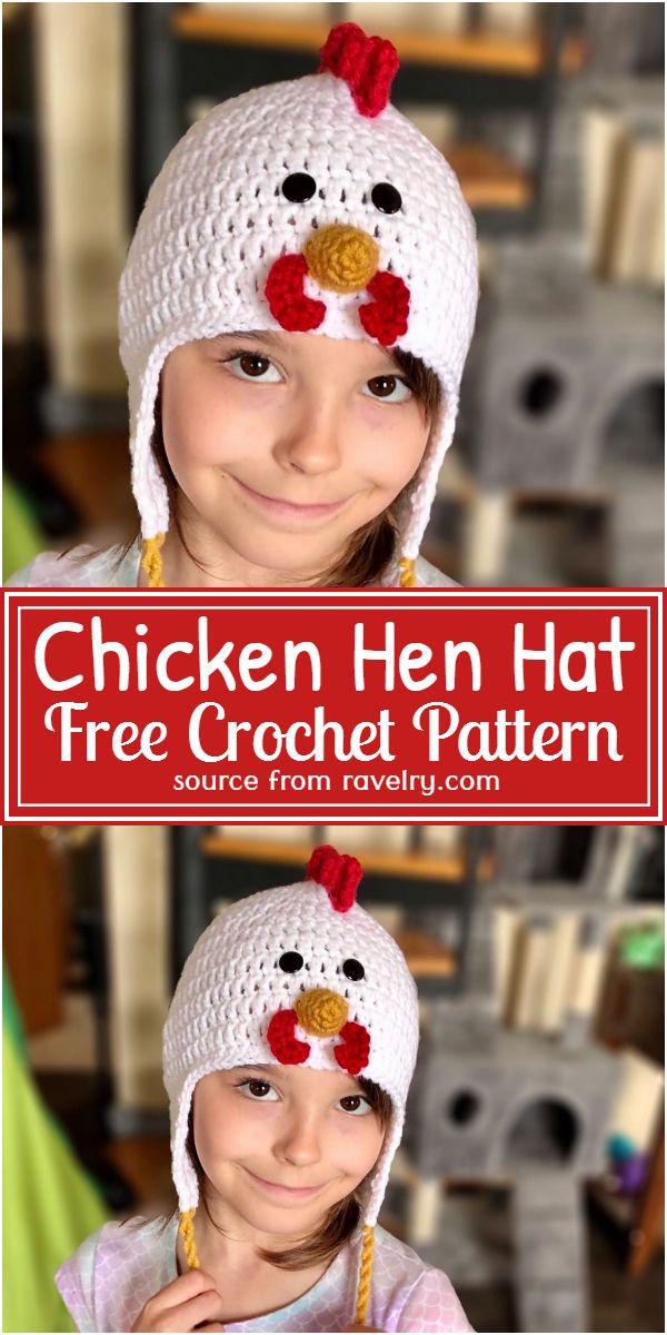 Free Crochet Chicken Hen Hat Pattern