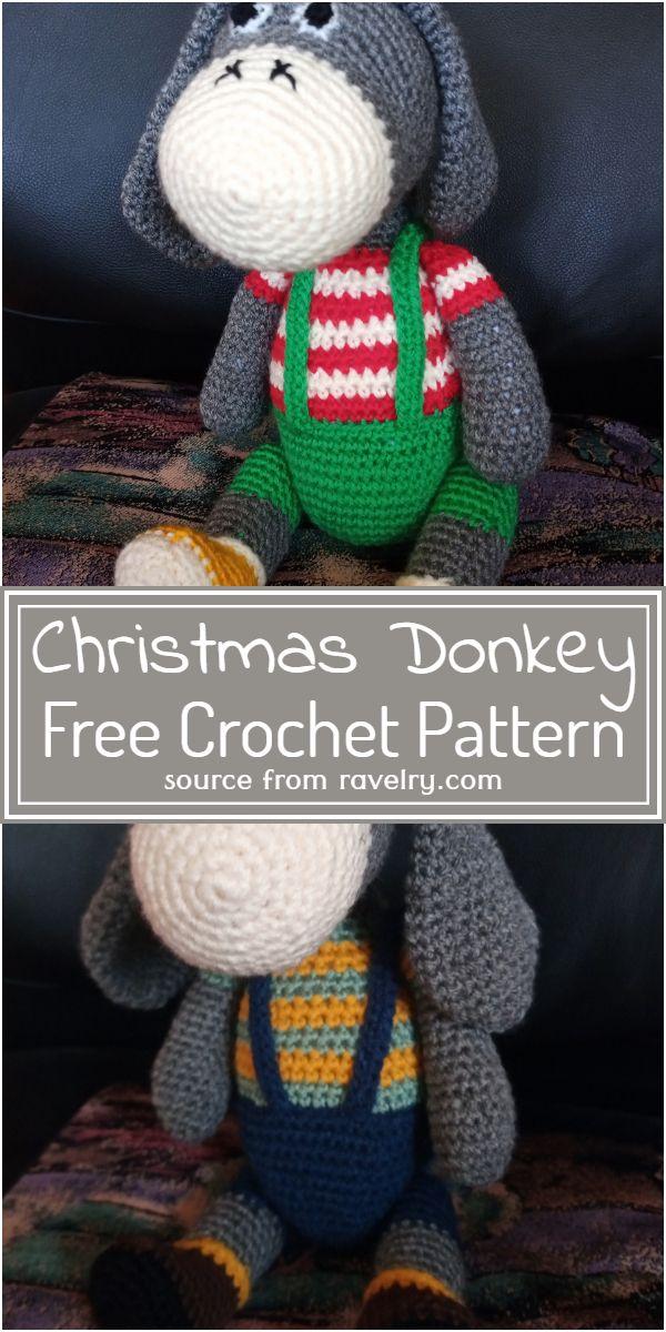 Free Crochet Christmas Donkey Pattern