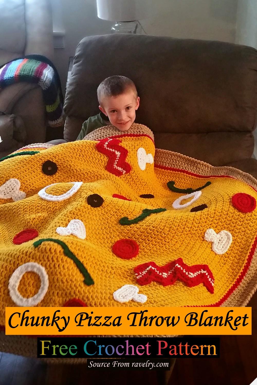 Free Crochet Chunky Pizza Throw Blanket Pattern