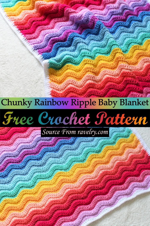 Free Crochet Chunky Rainbow Ripple Baby Blanket Pattern
