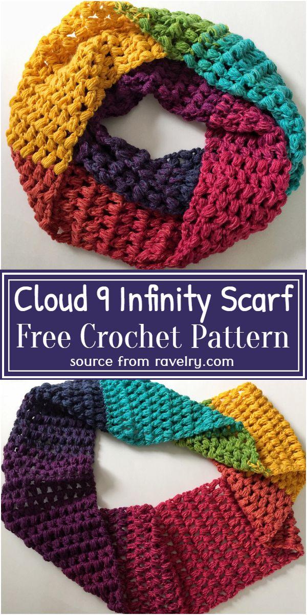 Free Crochet Cloud 9 Infinity Scarf Pattern