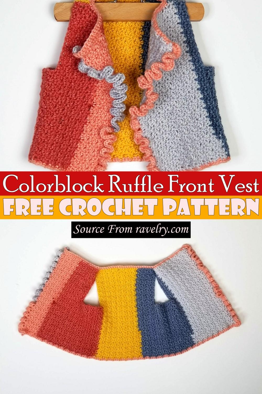 Free Crochet Colorblock Ruffle Front Vest Pattern