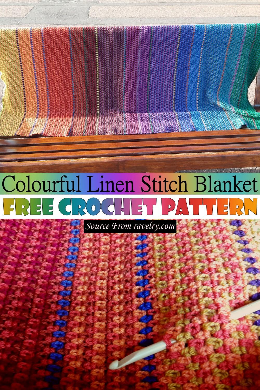 Free Crochet Colourful Linen Stitch Blanket Pattern